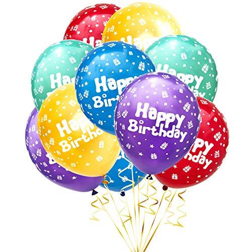 Oblique Unique® 10 Luftballons mit Happy Birthday für Kinder Geburtstag Feier Party Deko Geburtstagsdeko Ballons Bunt (Happy Birthday)