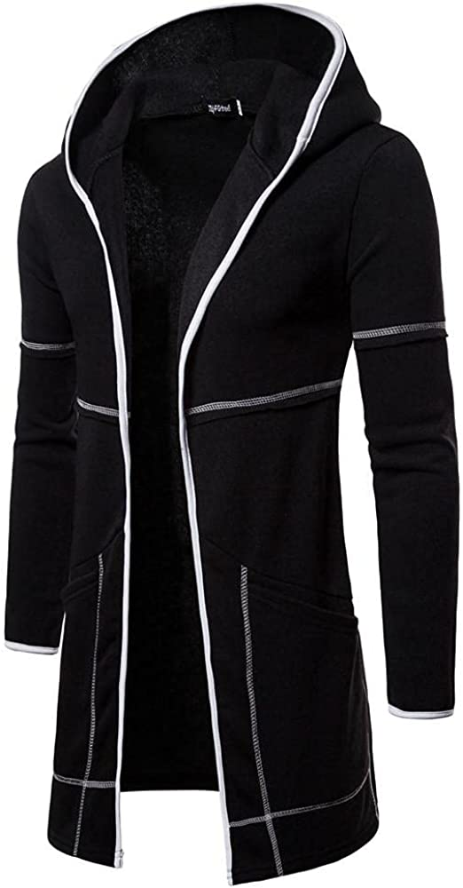 KEEYO Mens Shawl Collar Hoodies Cardigans Jackets Open Front Draped Lightweight Hooded Sweater Trench Coat with Pockets