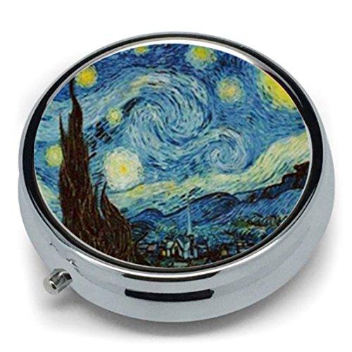 Van Gogh Art Star Runde Pillendose aus Metall für Medikamente, Tablettenhalter, Organizer, Spender für Münzbeutel oder Geldbörse