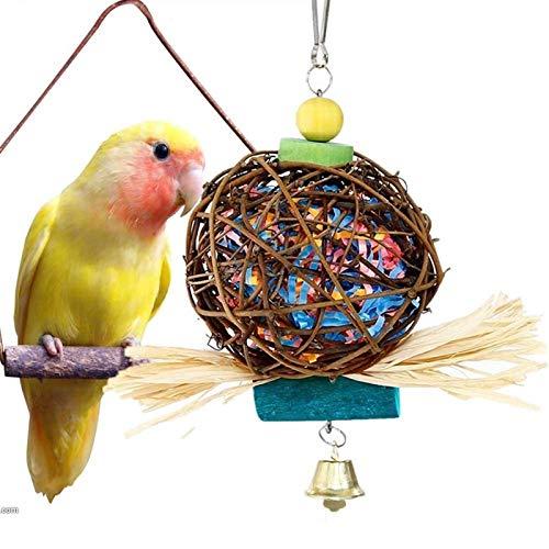 Radvihay Parrot Juguete de Madera Pájaros de pie Masticando Rack Toys Ball Ball Heart Star Shape Parrot Juguete Pájaro Juguetes Accesorios (Color : B1)