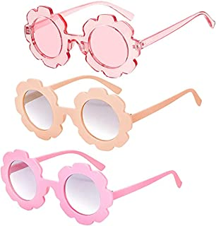 Girls' Sunglasses, KASTWAVE Round Flower Sunglasses Girls Flower Glasses Cute Outdoor Summer Beach Eyewear Pool Party Toys...
