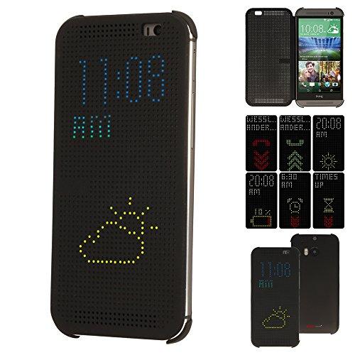 TECHGEAR Schutzhülle für HTC One M8, Loch-Design, mit automatischer Standby- / Aufwachfunktion, schwarz