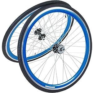 viking 28 Zoll 700C Laufradsatz mit Reifen Vorne Hinten Fixie Singlespeed Hochflansch Fixed Gear Wheel