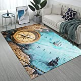 Manerly Retro Style Compass on Vintage Map Print Area Rugs 7' x 5' Large Floor Mat for Living Room Bedroom Non-Slip Rugs Home Decor Carpet