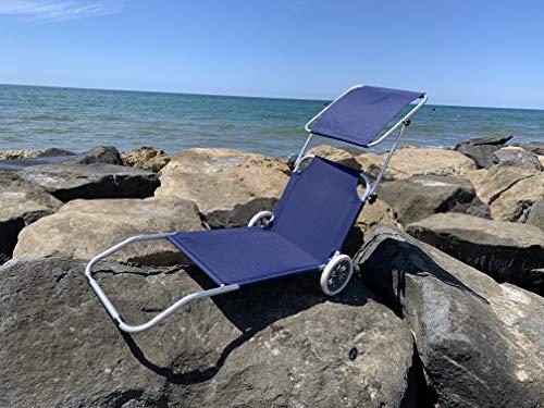 MLI Spiaggina Trolley Blu con Tetto 85103 Lettino da Spiaggia con Ruote Sdraio Prendisole Pieghevole con Parasole Schienale Regolabile