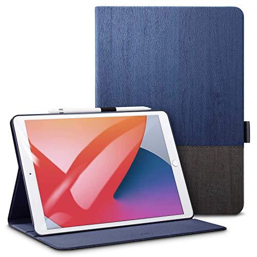 ESR iPad 8 Case 2020 iPad 10.2 Case 2019 PU Leather Notebook Type [Auto Sleep / Wake] [Com porta-lápis] [Design da capa do livro] [Suporte de ângulo ajustável] Capa de suporte folio Urban Premium para iPad de 10,2 polegadas (2020/2019) [ Azul marinho)