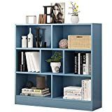 WHOJS Librería Vertical Estantería infantil de 7 compartimentos Estante de almacenamiento de juguetes Elevación de los pies del gabinete Estructura de madera maciza 80x24x104cm Autoportant(Color:Azul)