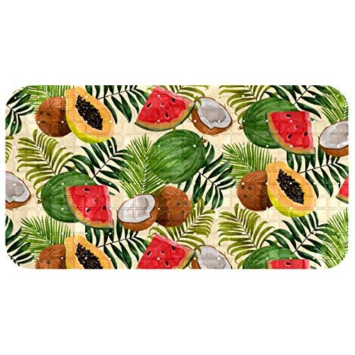 Tropical Fruits - Alfombrilla antideslizante para bañera con orificios de drenaje