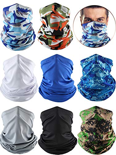 8 Pieces Summer UV Protection Neck Gaiter Scarf Cooling Breathable Face Balaclava Scarf