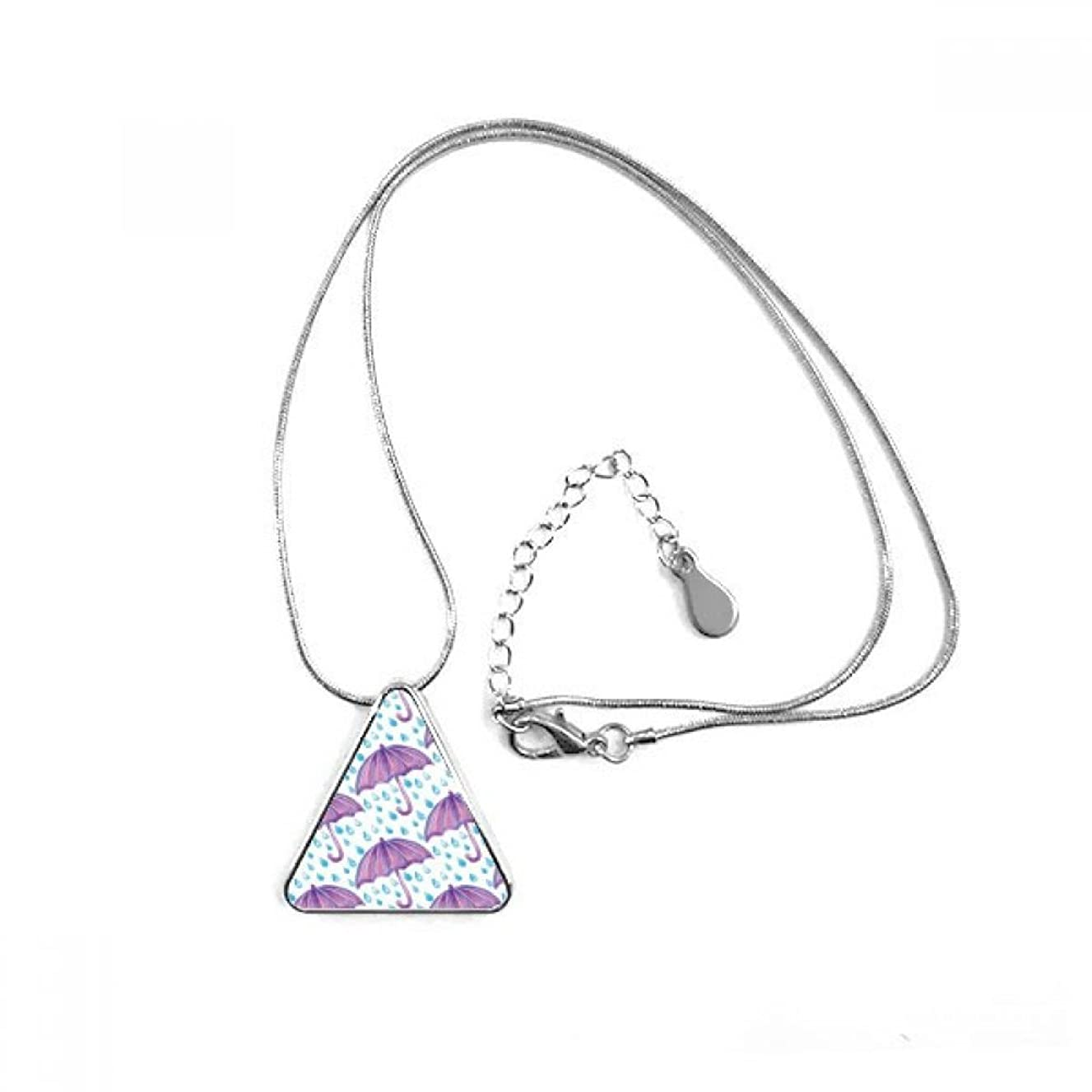 DIYthinker Purple Watercolor Umbrella Rain Triangle Shape Pendant Necklace Jewelry With Chain Decoration Gift