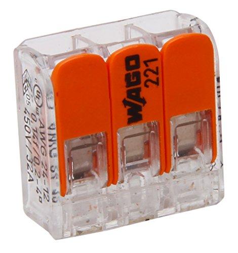Kopp 33346405 WAGO Steckklemme 3-fach mit Hebel für flexible Drähte wiederöffenbar transparent 1,5-2,5 mm² Inhalt 10 Stück, Grau/orange