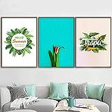 vbewuvbiewv Decoración del hogar Flor Hojas de Palma Impreso Lienzo Pintura Sala de Estar Arte de la Pared Imágenes de Plantas Sin Marco