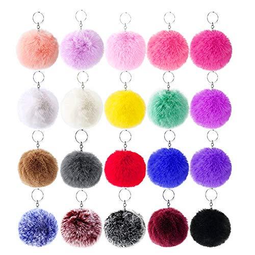 20 Pcs Faux Fur Ball Pom Poms Keychains for Handbag Fluffy Ball (No Keyring)