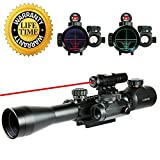 UUQ® Tactical 3-9x40mm Illuminated Rifle Scope with Red Laser and Red Dot Sight