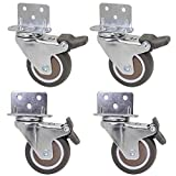 Dr.Luck 2 Inch L-Shaped Plate Swivel Caster w/Brake, 5 Holes L-Clip Side Mount Plate for Narrow Install Place, TPE Rubber Wheel Move Silent Smooth Sturdy, 4 Pack Total Load Capacity 190Lbs/87Kg