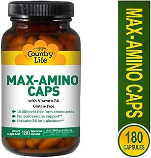 Country Life - Max-Amino with Vitamin B-6 (Blend of 18 Amino Acids) - 180 Vegetarian Capsules