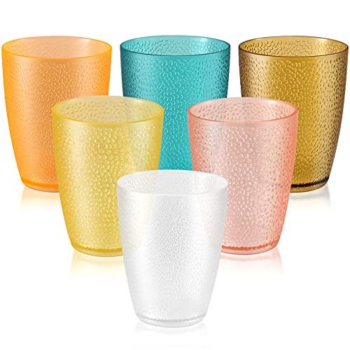 TIANTOU Vasos Plastico de Colores 290 ml Puntos Acrílicos Vasos de Plástico Apilables Vasos de Plástico para Hogar, Fiesta, Hotel, Bar 6 Piezas