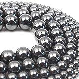 Oameusa 12mm Black Magnetic Hematite Beads Natural Round Beads Gemstone Beads...