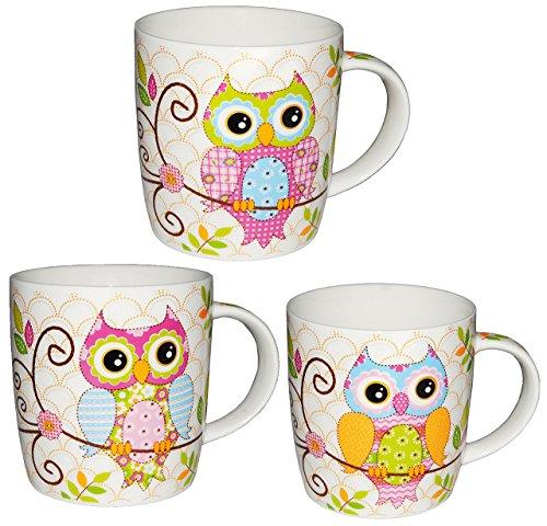 alles-meine.de GmbH 3 Stück: Henkeltasse mit Eule - groß - Keramik / Porzellan - Trinktasse mit Henkel - Tasse Becher - Porzellantasse Eulenmotiv Tassen / Kaffeetasse - Henkeltas..