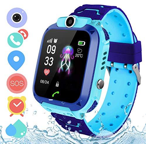 Zeerkeer Smartwatch Niños,Smart Watch Phone con LBS,IP67 Impermeable Reloj Inteligente Llamada bidireccional SOS ,Modo de Clase ,Cámara Frontal  Monitoreo Remoto Mejor Regalo  (S12 Azul)