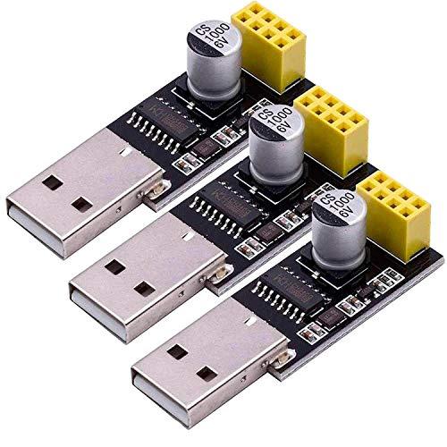 AZDelivery ⭐⭐⭐⭐⭐ 3 x USB a ESP8266 01 Serial Wireless WiFi Modulo para ESP-01 con eBook Incluido