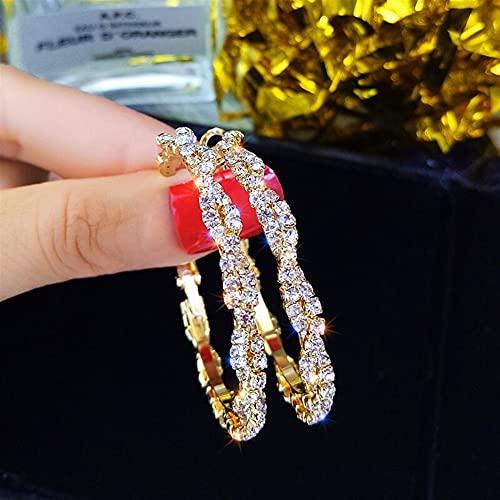 OUBALA Pendientes de aro Redondos Pendientes de Cristal de Tornillo Brillante para Mujer (Metal Color : Gold)