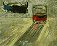 YTHSFQ DIYペイントバイナンバーキット大人用 - ワイングラスの木造船 初心者用のキャンバスに番号キットでペイント  ホームウォールデコ   プレプリントアートクオリティキャンバス 20インチ×16インチ、アクリル塗料 (フレームなし)