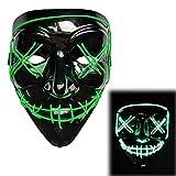 Believesinkinto Máscara LED de Halloween Ilumina la máscara de la máscara de Miedo de la máscara LED Purge V para la máscara de Cosplay de Vendetta (Color : Fluorescent Green)
