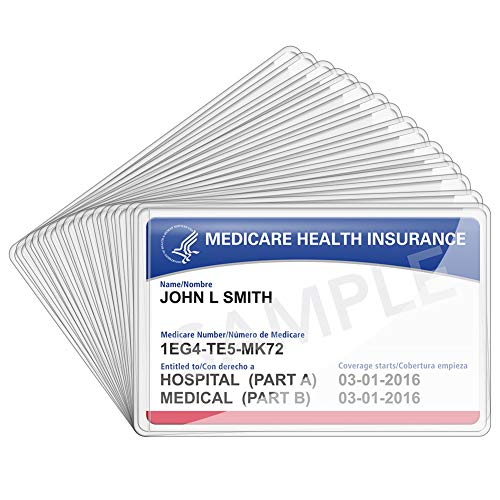 16 Packs New Medicare Card Holder Protector Sleeves, 12Mil Clear PVC Waterproof Medical Card Protector for New Medicare Card Credit Card Business Card, Social Security Card Protector