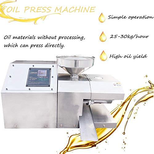 YJINGRUI Ölpresse Kommerzielle Erdnuss Sesam Ölpresse Elektrischer Öl Expeller Automatischer intelligenter heiß oder kaltgepresster Ölextraktor (25-30 kg/Stunde)