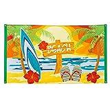 Boland 52466 - Fahne Strand, Größe 90 x 150 cm, Polyester, Beach, Beachparty, Gartenparty, Banner, Wanddekoration, Hängedekoration, Kindergeburtstag, Mottoparty, Karneval