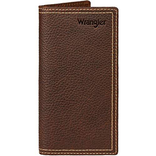 Wrangler Leather Rodeo Wallet Billetera, Doble Costura marrón Oscuro, Talla única para Hombre