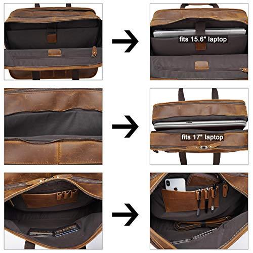TIDING Leder Aktentasche für Herrentasche 15.6 Laptoptasche, GeschäftsbüroUmhängetasche mit Trolly Strap Vollnarbenleder, YKK Reißverschlüssen (Braun)