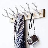 Pureday miaVILLA Wandgarderobe Deer Garderobe Hirschgeweih Holz Metall Silberfarben -