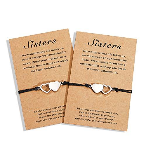 Ungenent Them, pulseras de larga distancia, para hermanas, 3 mejores amigos, amistad, BFF, corazón, juego de 2/3 pulseras de joyería regalo para niñas y mujeres Plateado