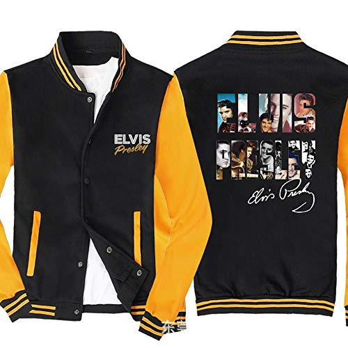 Männer Pullover Jacke - Elvis Printed Sweatshirt Baseball-Trikot Langarm-Zip Trainingsjacken - Teen Gift Black Yellow-XXL