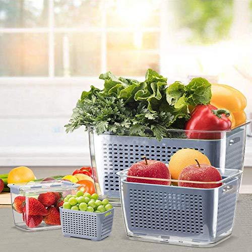 no-branded Fresh Produce Saver Veggie Fruit Storage Contenitori per Refrigeratore, Fridge Storage Containers - Contenitori per alimenti con cinghie (0,48 l + 1,7 l + 4,5 l)
