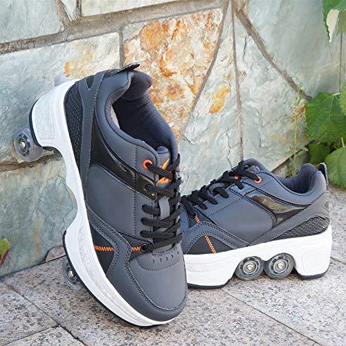 JTKDL vervormingsschoenen 2-in-1 multifunctionele schoenen, all-rad-rolschaatsen, fashion casual automatische dual purpose skates