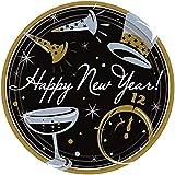 Amscan Elegant New Year Party Tie Affair Round Dessert Plates Tableware (50 Piece), Black, 7'
