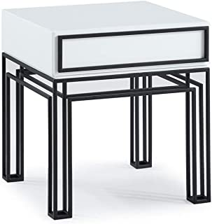 Now House by Jonathan Adler Grid End Table, Black and White
