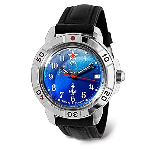 VOSTOK Reloj de pulsera automático para hombre para buzos   Reloj de pulsera militar de buzo   Moda   Negocios   Relojes casuales de hombre   Modelo 420059, Cuero