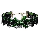 Daesar Joyería Acero Inoxidable Gargantillas Mujer Choker Necklace Enlace Lazo Hueco Flor Verde Collar 33x2.7CM