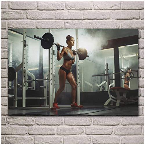 Terilizi tyngdlyftning ben platser fitness kvinna fitness-studio-träning på duk tryck målning för vardagsrum hemma väggkonst dekor 50 x 90 cm utan ram