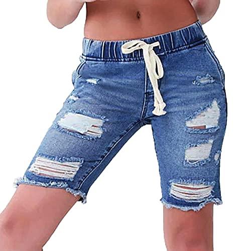 Shorts Mujer Vaqueros Rotos con Cordón Ajustables Pantalones Cortos Mujer Vaqueros con Bolsillos Pantalón Verano Mujer Suave y Cómodo Pantalones Vaqueros Rotos Mujer Vida Diaria