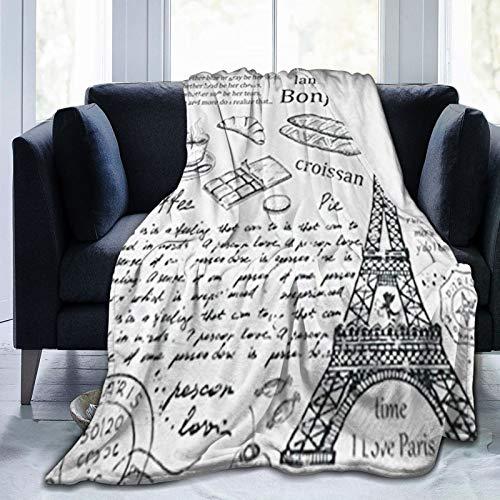 JISMUCI Manta de Franela Suave,Elementos Parisinos Famosos Tradicionales Café Bonjour Croissan Torre Eiffel,Cama de Camping para sofá 204x153cm