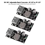 3pcs DC-DC Buck Converter 6V-32V à 3V-12V Module d'alimentation réglable Step Down 24V à 12V 5V 3V Régulateur de tension USB simple Charge rapide pour iPhone/QC2.0/QC3.0/DCP/FCP/AFC/SFCP/SCP