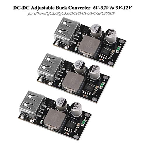 Innovateking-EU 3 Stücke DC-DC Buck Converter Step Down Converter 6V-32V zu 3V-12V Einstellbare Stromversorgung 24V zu 12V 5V 3V USB Spannungsregler Schnellladung für iPhone/ QC2.0/ QC3.0/ DCP/FCP