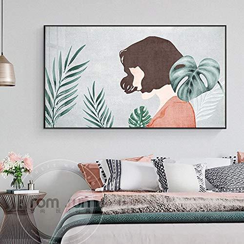 Wfmhra Carteles e Impresiones de Personajes Modernos Linda Chica Arte de la Pared Lienzo Hoja Verde Imagen decoración del hogar 50x75 cm sin Marco