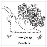 jokeWEN クリアスタンプ シリコンスタンプ 花のカタツムリDIYシリコンクリアスタンプシールスクラップブックエンボスアルバムの装飾