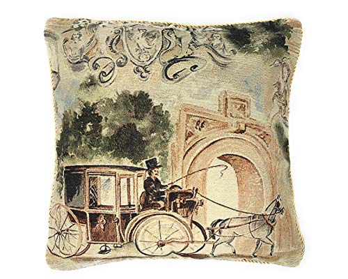 Tache Home Fashion Vintage Old Days Square Woven Tapestry Faux Needlepoint Cushion Throw Pillow Cover, 18x18cm, Beige